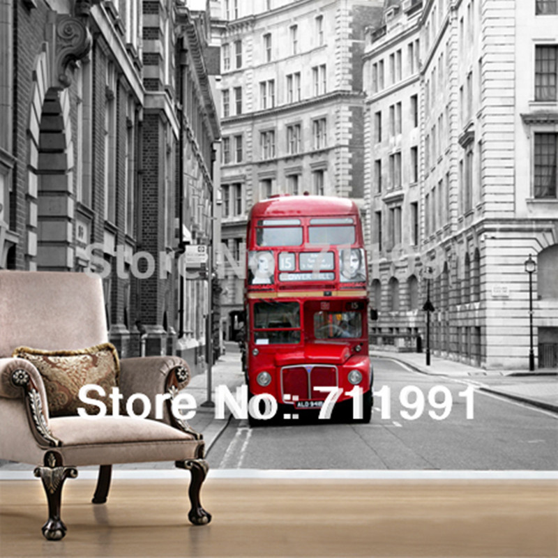 Custom 3d Stereoscopic Wallpaper London City Buses For Baby Room Living Bedroom Tv Backdrop Home Decoration Papel De Parede custom mural wallpaper european style 3d stereoscopic new york city bedroom living room tv backdrop photo wallpaper home decor