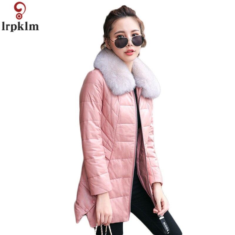Women Leather   Down     Coat   Winter Jacket Zipper Fur Collar Thick Warm Long Padded Jackets 2018 Women Winter   Down   Jacket CH738