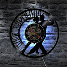 LED Wall Clock Modern Design with 7 Color Change Couple Danc