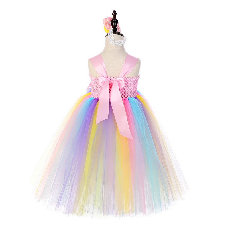 Summer New Big Kids Rainbow Tulle Tutu Girls Princess Party Flowers Dress Kids Wedding Prom Theme Clothes Vestido 2 8Y in Girls Costumes from Novelty Special Use