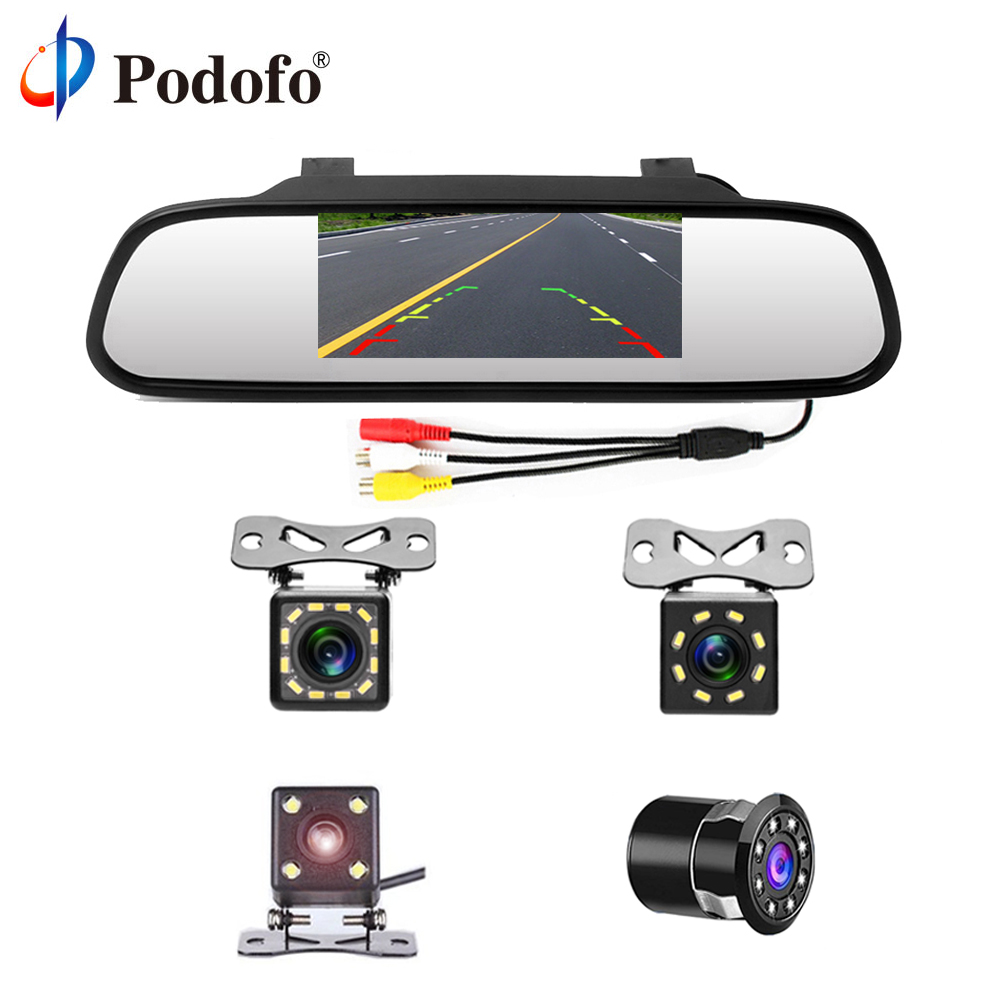 "Podofo 4.3"" Car Rearview Mirror Monitor Auto Parking System + LED Night Vision Backup Reverse Camera CCD Car Rear View Camera(Hong Kong,China)"