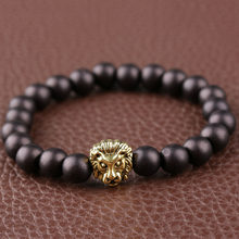 1 pc Unisex Men Women Black Matte Beads Stone & Golden plated Lion Head Bracelet Men's Bracelet 8mm Beads(China)