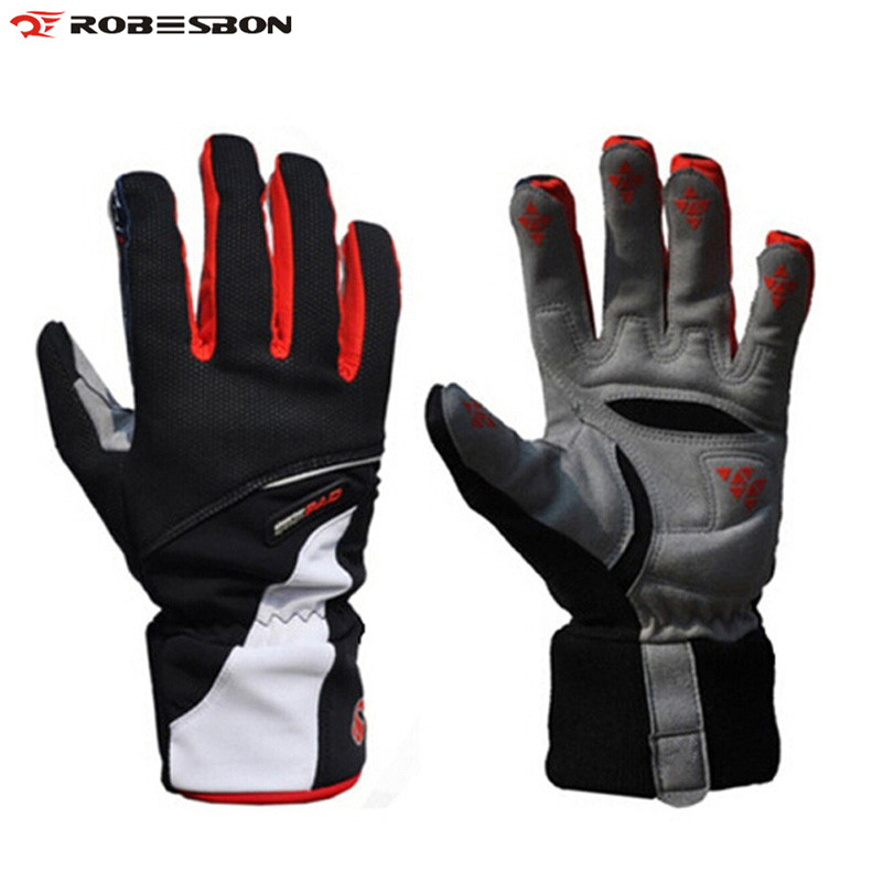 ROBESBON Warm Bicycle Gloves Winter Thermal Polar Fleece Full Finger Windproof Outdoor Sports Anti-slip Bike Cycling Gloves