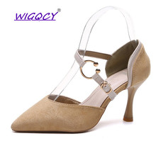купить Pointed Toe Suede Thin Heel High heel pumps women shoes 2019 spring summer shoes woman Fashion Buckle Strap Shallow female shoes по цене 799.87 рублей