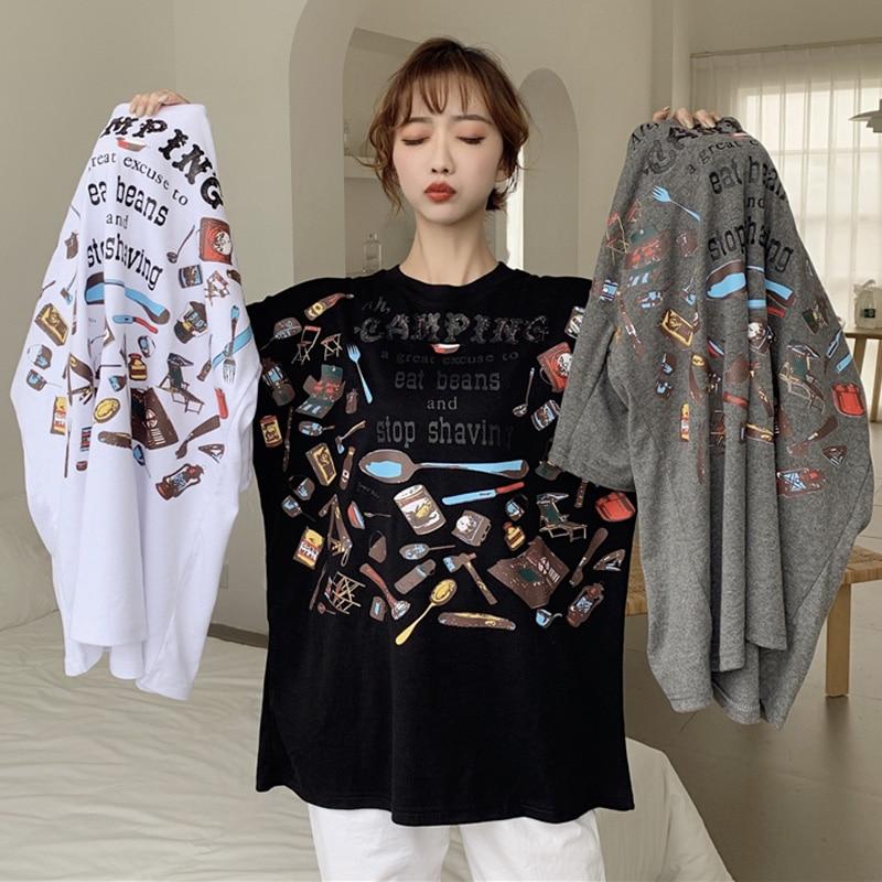 Fashion Big Size Tshirt Female Letter Printed Summer Hipster T Shirt Womens Basic Streetwear Camiseta Feminina Harajuku Tee Tops