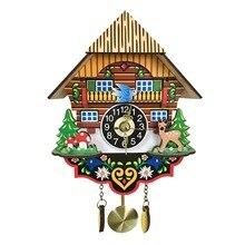 Gorąca cichy zegar ścienny z kukułką, żółty europejski styl pokój dzienny zegar ścienny vintage precyzyjne