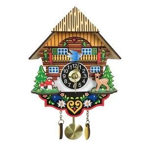 Image 1 - Gorąca cichy zegar ścienny z kukułką, żółty europejski styl pokój dzienny zegar ścienny vintage precyzyjne