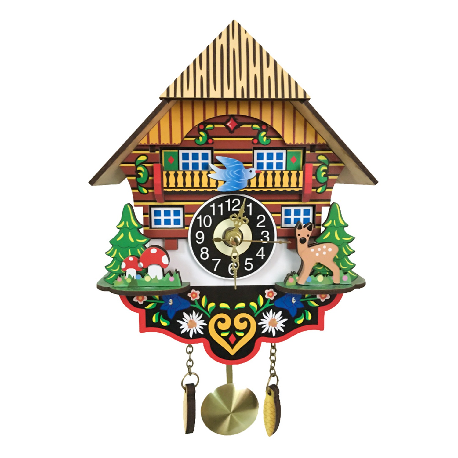Hot Silent Cuckoo Wall Clock, Yellow European Style Living Room Vintage Wall Clock precise-in Wall Clocks from Home & Garden