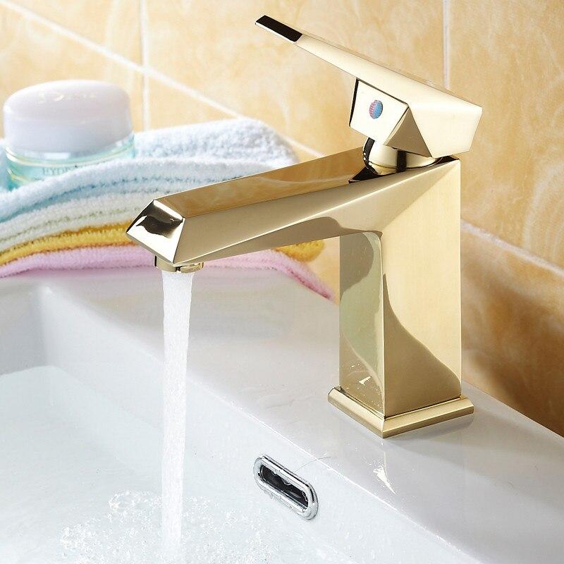 Robinet de salle de bains en cuivre européen robinet d'évier Antique robinet de salle de bain en or poli robinet de cuisine