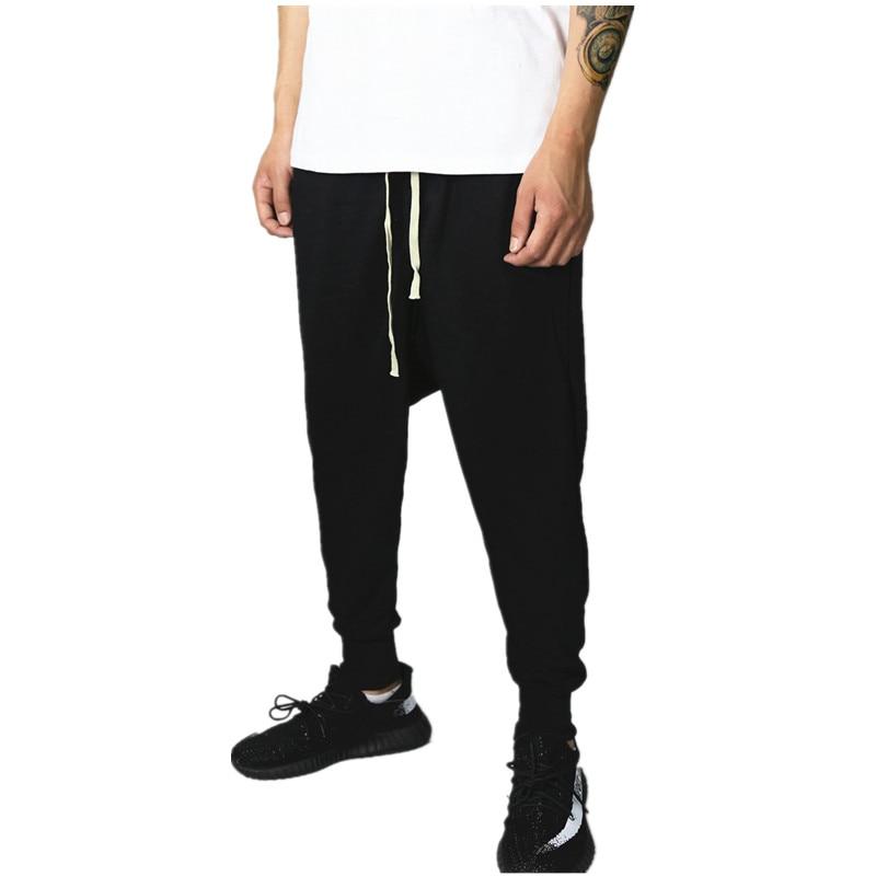 9e312fdfc9ade Mode de baisse entrejambe bas pantalon joggers rick   wens harem pantalon  hip hop butin vêtements noir kanye west noir vêtements pour hommes styles