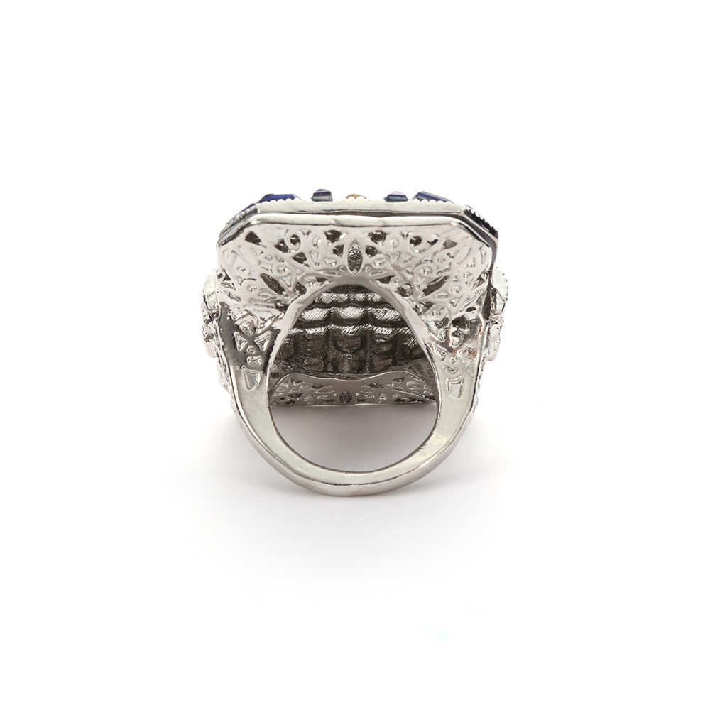 ... Women Men Large 925 Sterling Silver Rings Unisex Party Antique Art  Decor Blue Ring Anniversary Gift 3f29ab998a0b