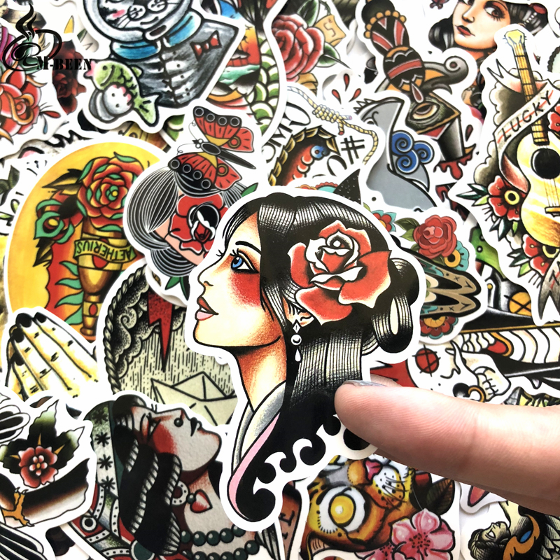 Купить с кэшбэком 50pcs/lot funny Cool Color old school tattoo Stickers for car Laptop Suitcase Skateboard DIY Graffiti Waterproof sticker