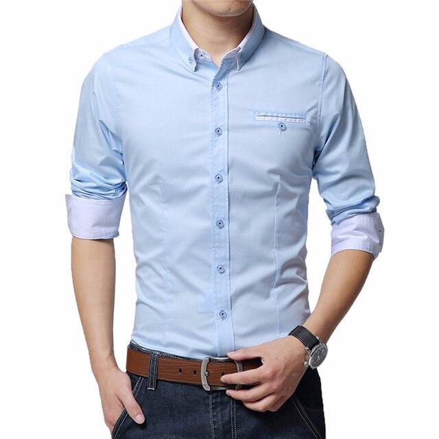 Men's Wedding 2018 Shirt Long Sleeve Men Dress Shirt Business Solid Color Casual Shirts Work Wear Formal Slim Shirt Man CY18001 1