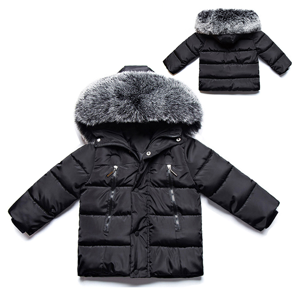 200451a691f3 Kids Boys Faux Fur Collar Hooded Parkas Coat Cotton Padded Thicken Warm  Jackets Children Solid Winter Outwear Baby Puffer Coat-in Down & Parkas  from Mother ...