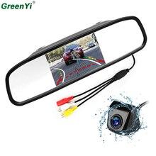 Greenyi динамический траектории треков заднего вида Камера обратный резервный Авто-камеры и 4.3 дюймов HD парковка зеркало Мониторы