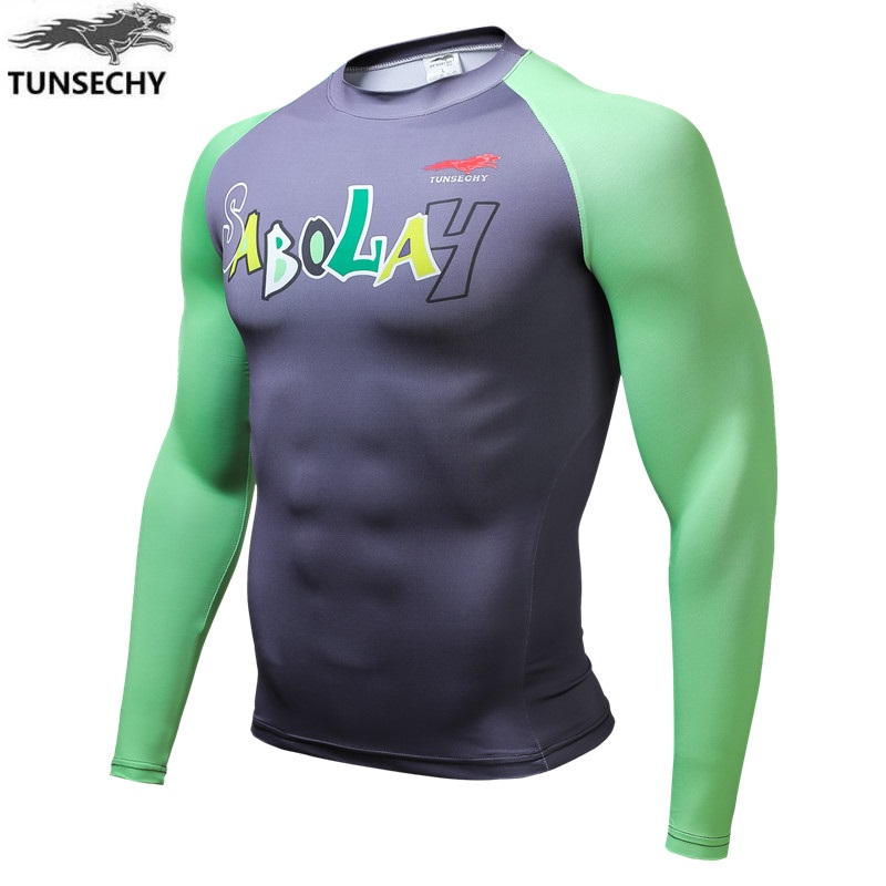 TUNSECHY Men's wear Brand New digital printing long sleeve T-shirt 2017 round collar fashion and personality tight T-shirts