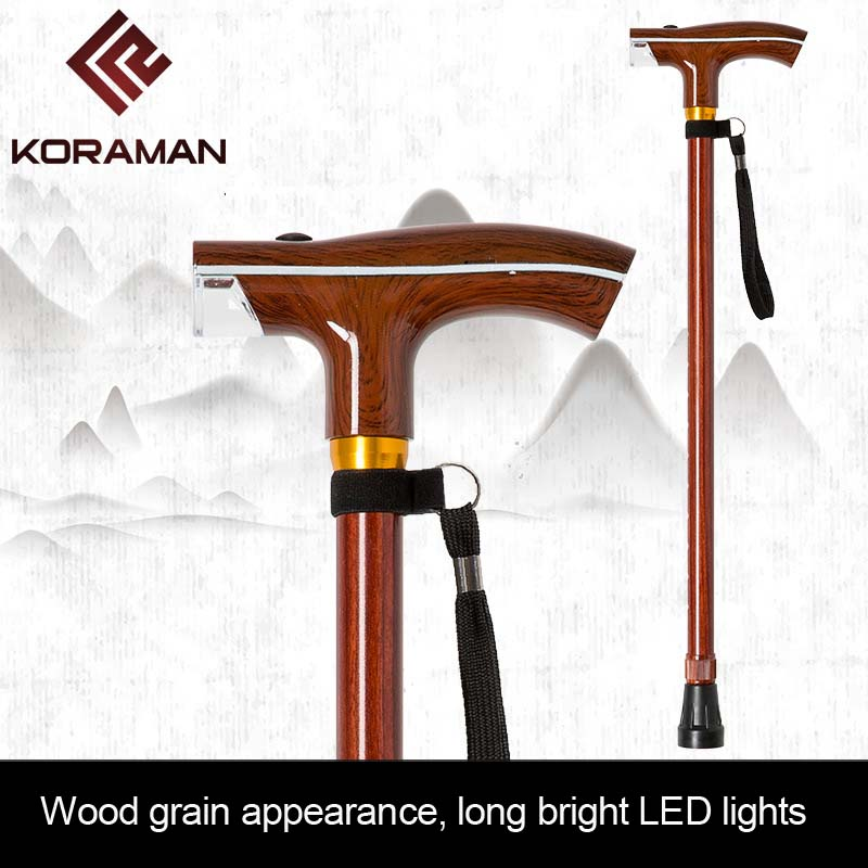 NEW old man stick with lamp intelligent  wood color multifunctional crutch scalable lighting rod outdoor walking