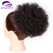 Spring sunshine Synthetic Puff Afro Short Kinky Curly Ponytail Chignon Hair Extensions Afro Bun Drawstring Ponytail Hairpiece(China)