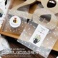 100 pcs Branco Dots Transparente Fosco decoração da Festa de Aniversário e Casamento Doces Embalagem sacos de sacos De Plástico do Bolinho de Cozimento BZ012