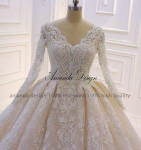 Image 2 - カスタムメイドブライダルドレス高品質長袖レースクリスタルウェディングドレス高級