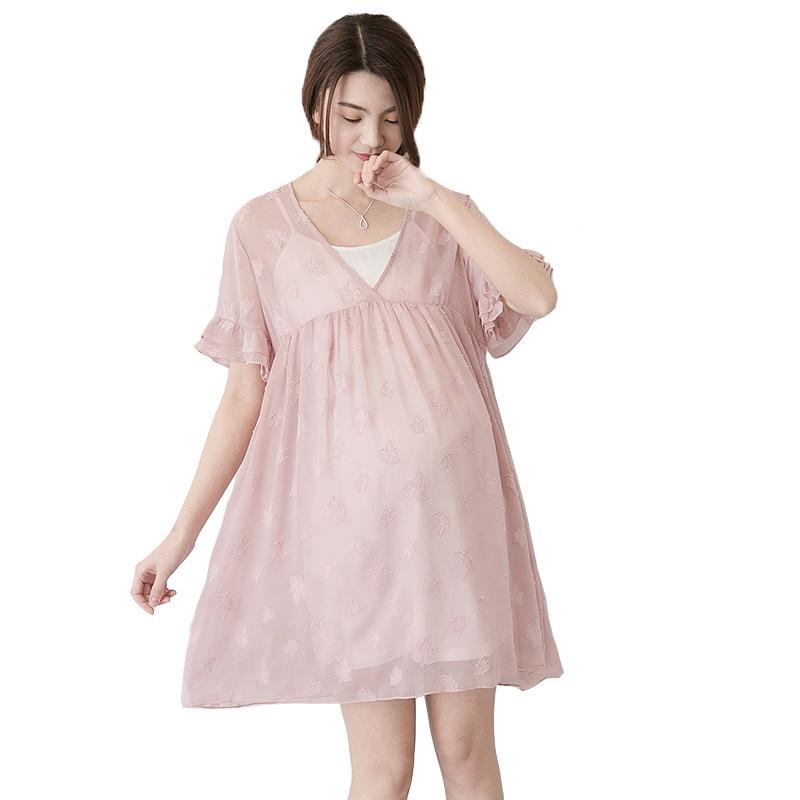 Two-piece Maternity Dresses 2018 Foral Lace Dress White Vest+ V-neck Dress Fashion Maternity Clothes For Pregnant Women Dress