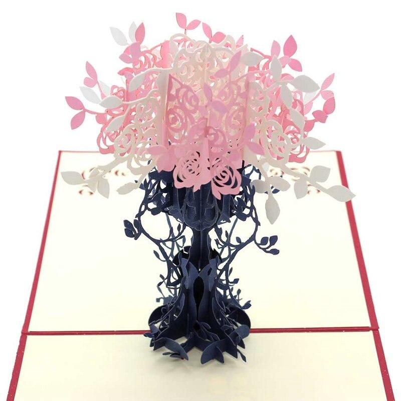 Flowerpot with Flower Kirigami 3D Pop Up Laser Cut Handmade ...