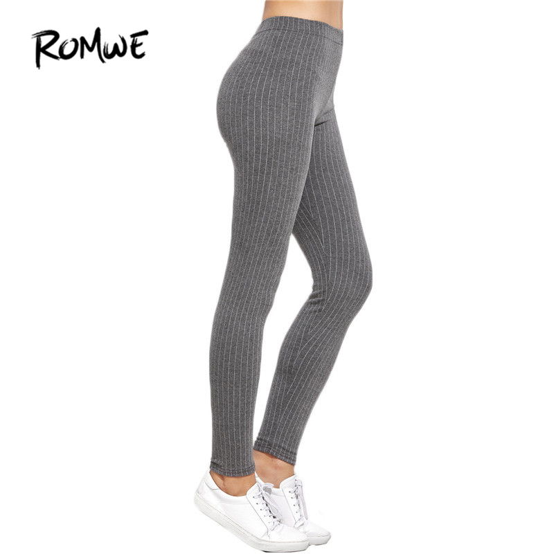 0b99f5ed52fe ROMWE Womens Leggings Autumn Womens Leggings High Waist Spring Women Pants  Vertical Striped Casual Leggings