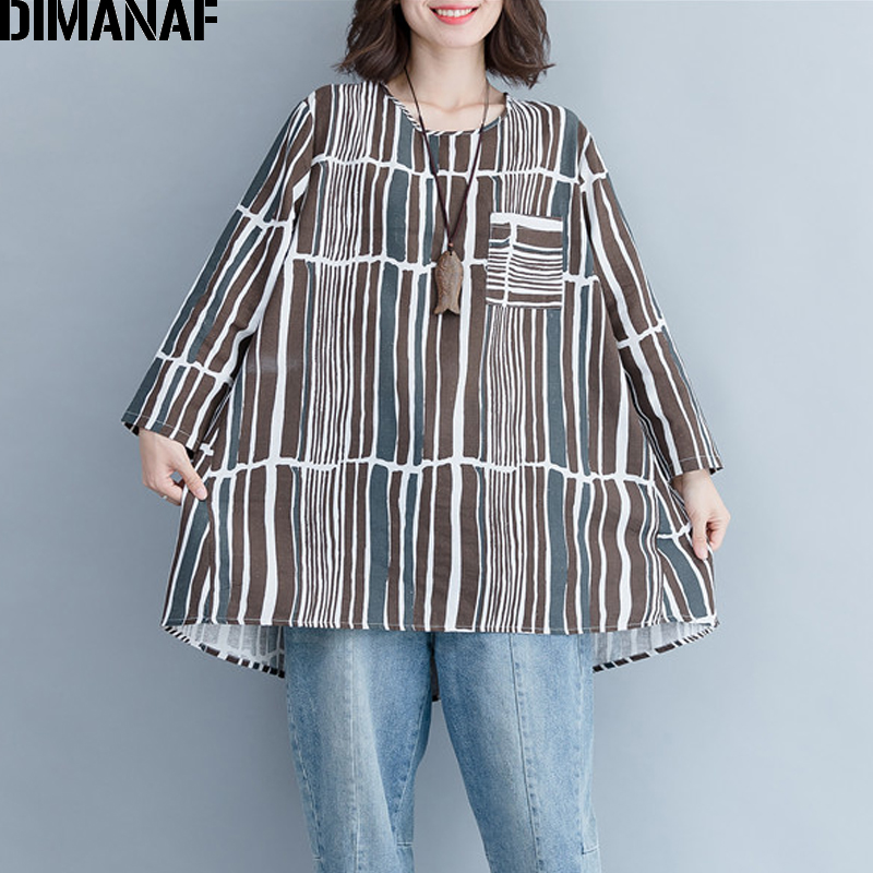 DIMANAF Women's   Blouse     Shirt   Vintage Basic Tops Tunic Loose Female Clothing Plus Size Linen Casual Tee Print Striped 2018 Autumn