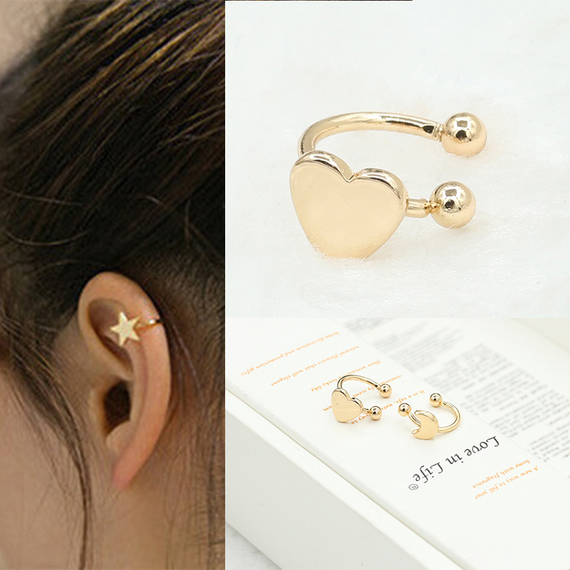 1PC Fashion Small Gold Silver Copper Moon Clover Star Heart Triangle No Pierced Earclips Earrings for Women Brincos Bijoux R016 золотые серьги по уху