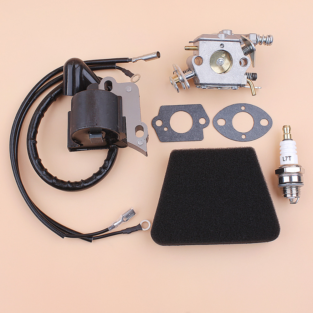 Carburetor Air Filter Ignition Coil Module Spark Plug Kit Fit Partner 350 351 370 371 420 Chainsaw Parts Walbro 33-29 Carb