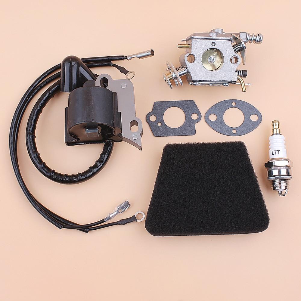 Carburetor Air Filter Ignition Coil Module Spark Plug Kit Fit Partner 350 351 370 371 420 Chainsaw Parts Walbro 33-29 CarbCarburetor Air Filter Ignition Coil Module Spark Plug Kit Fit Partner 350 351 370 371 420 Chainsaw Parts Walbro 33-29 Carb