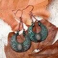 Retro Brincos de Pingente de prata antigo de Cobre Verde brincos jóias mulher presente de Natal