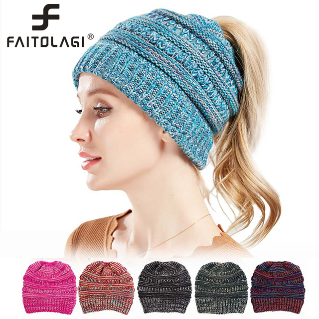 7215f16a6bd53 2018 Fashion Beanie Women Winter Soft Knitted Ponytail Beanies For Ladies  Stylish Autumn Winter Hat Girl