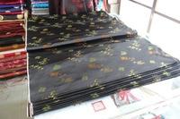 Chinese Silk Brocade Fabric Cheongsam Cushion Black Back Auspicious Green Bamboo Leaves Orange Plum Flower