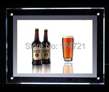 Advertising quality light box LED Display Acrylic Crystal Thin Frame 2016 New Invention Showcase Light Boxes Custom size Sale