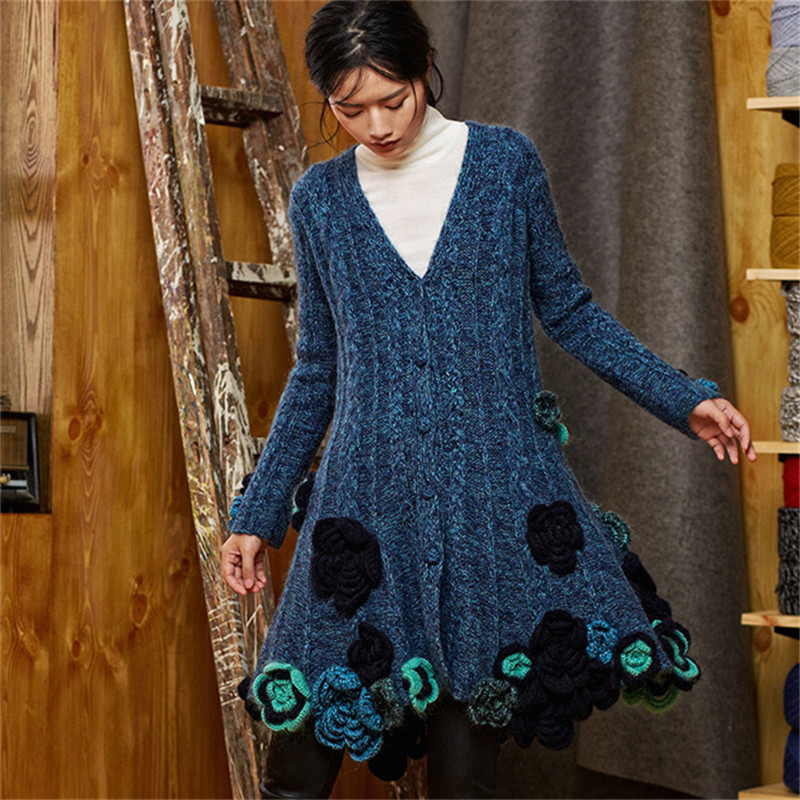 100% Hand Made Wool Vneck Knit Women Irregular Embroidery Hem Solid Loose Single Breasted Long Cardigan Sweater One&over Size