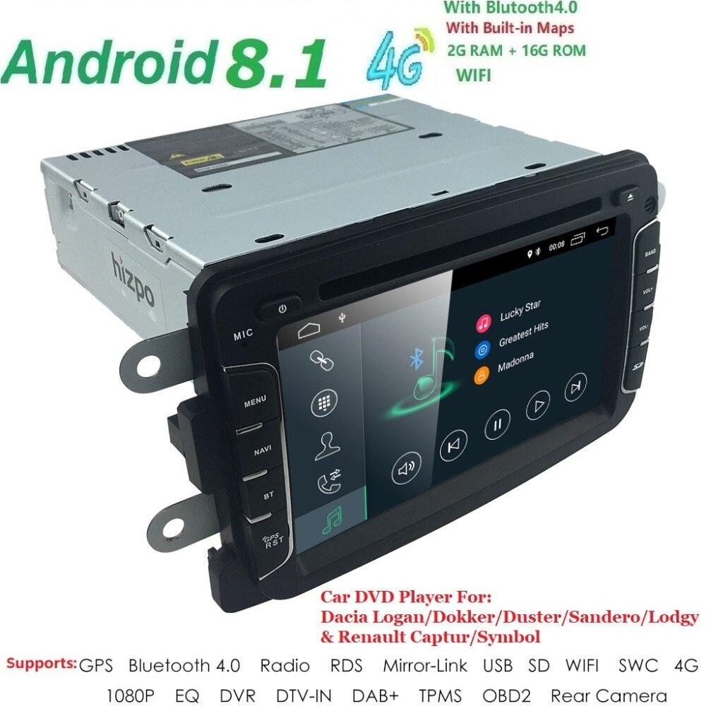 Pour Renault Dokker Dacia Duster Logan Sandero avec Autoradio GPS Navigation Radio Stéréo Bluetooth SD USB Miroir-Lien Android8.1