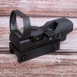 Mira para caça com reflexo e ponto vermelho, mira holográfica para rifle de trilho, 4 retículo, escopo tático e colimador, 20mm