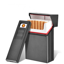 2018 New Cigarette Case USB Lighter Rechargeable Electronic Cigarettes Box Holder Turbo Lighter Palsma Pulse