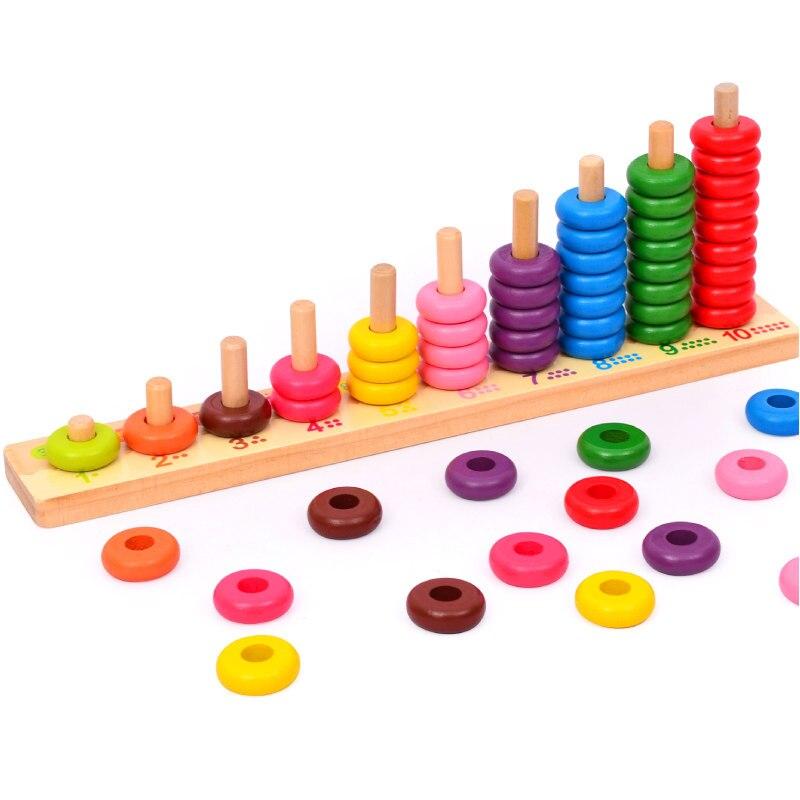Деревянные игрушки Монтессори 10 уровень облаков вычисления деревянные бусины математика игрушка Детские игрушки подарок ...