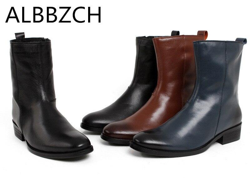 Mode chelsea en cuir véritable mi bottes chaussures hommes équitation équestre travail bottes hommes western cowboy moto bottes homme botas