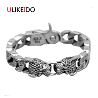 100% Pure 925 Sterling Silver Bracelet The leopard head Fashion Punk Hand Chain For Men Sprcial Jewelry Charm Bracelets Gift 336