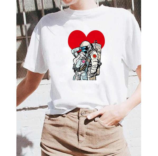 2019 funny Space นักบินอวกาศพิมพ์เสื้อฝ้ายเสื้อ Casual t เสื้อผู้หญิงเสื้อ Tee Hipster Tumblr harajuku