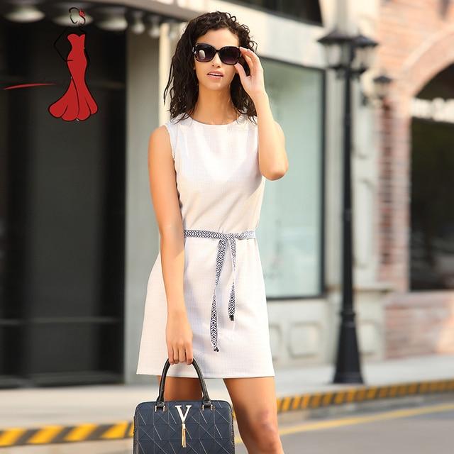 Deviz Queen Elegant Office Dresses Brand 2017 New O-Neck Linen Design Women's Casual Simple Wrap Front Pencil Dress With Belt