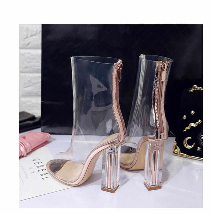 Yaz Moda Kadın Botları Şeffaf PVC Yüksek Topuklu Sandalet Ayakkabı Kadın Açık Ayak Sonbahar Bota Feminina Tasarımcı Stilettos Pompaları