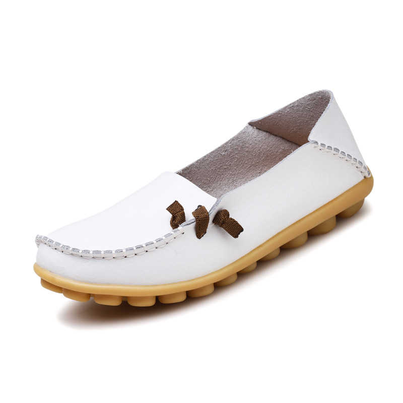 2017 Genuine Leather Women Flats Shoe Fashion Casual Slip On Soft Loafers Spring Autumn Moccasins Female Driving Shoes Wholesale
