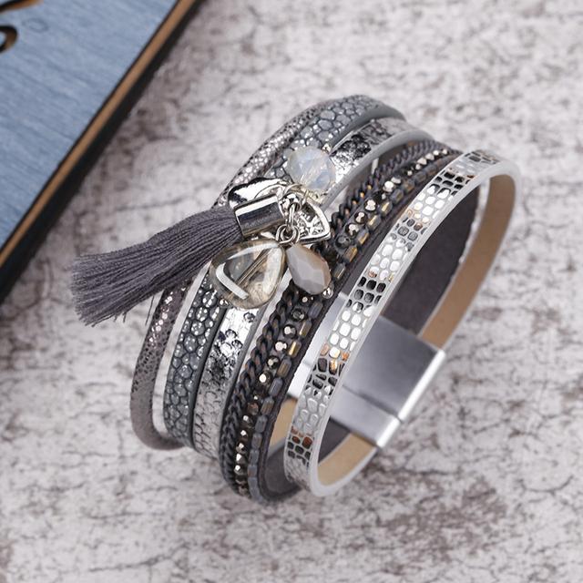 Multilayer Tassel Embellished Leather Bracelet