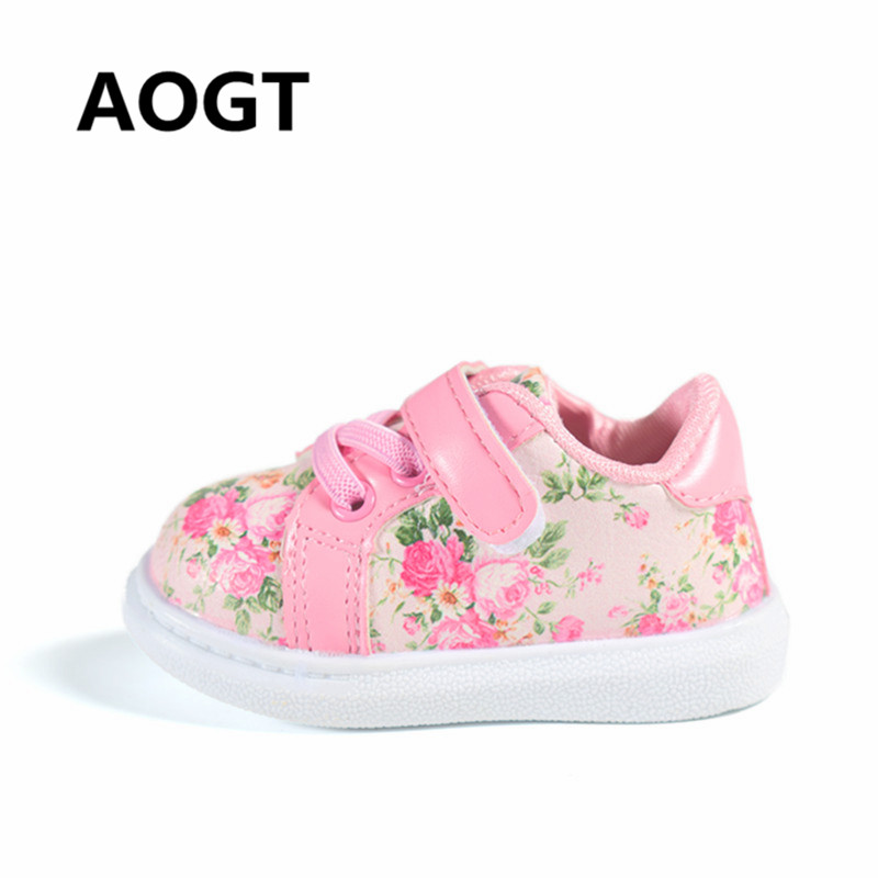 AOGT 2018 New Baby Girl Shoes Leather Flowers Newborn Shoes First Walkers Comfortable Girls Baby Sneakers Kids Toddler Shoes
