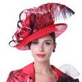Kueeni Women Sun Hats Feather Special Designer Fashion Style Sinamay Hats  Hot Red Color Wedding Dress Wear Party Fedoras Hats