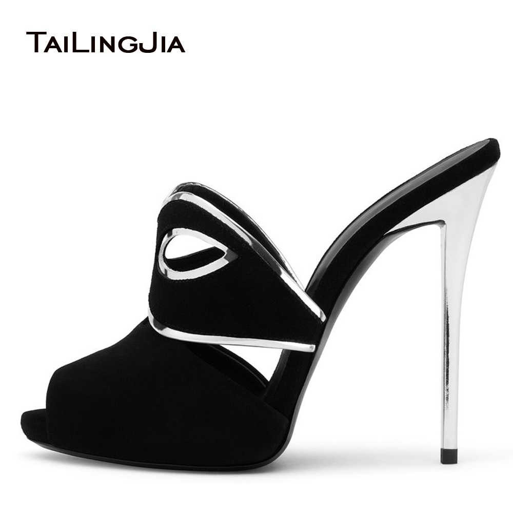 d98d71604d95 Women Sexy Peep Toe Mask Mules Black Faux Suede High Heel Sandals Slim Platform  Dress Shoes